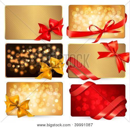 Conjunto de tarjetas hermoso gif con arcos de regalo roja con cintas. Versión raster de vector