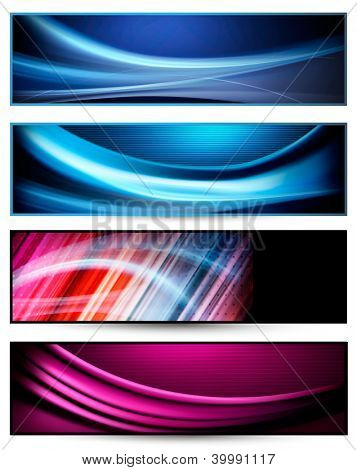 Set of colorful abstract business banners. Raster version of vector