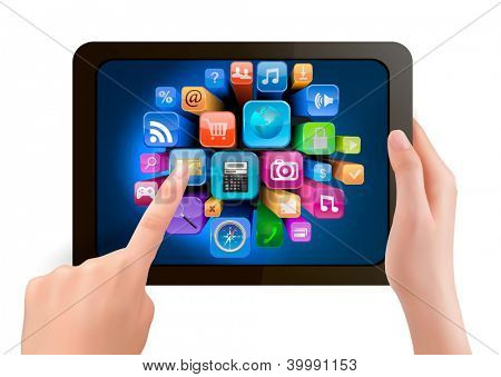 Hand holding touch pad pc and finger touching it's screen with icons. Raster version of vector