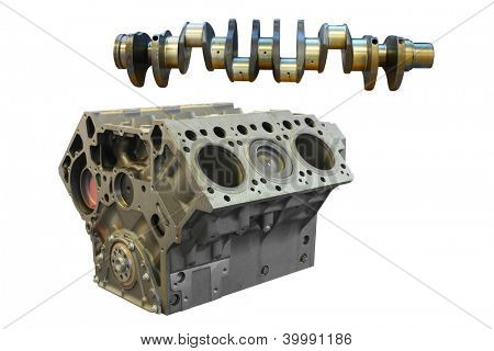 camshaft and cylinder block under the white background