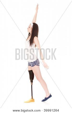 The image of a girl with artificial leg