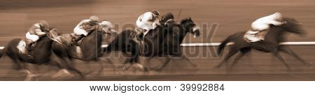 Abstract Motion Blur Racing Horses