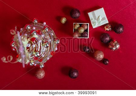 Wire Christmas Tree on Red Background