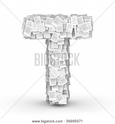 Letter T, page documents font