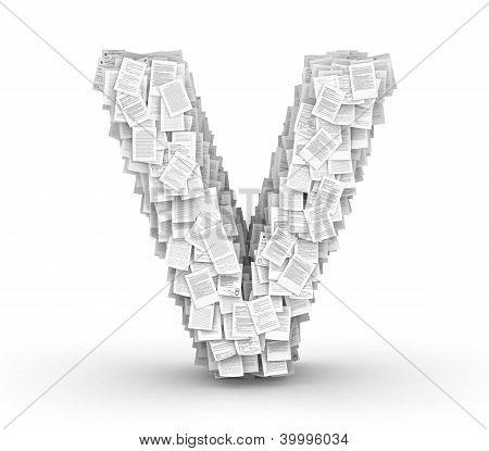 Letter V, page documents font