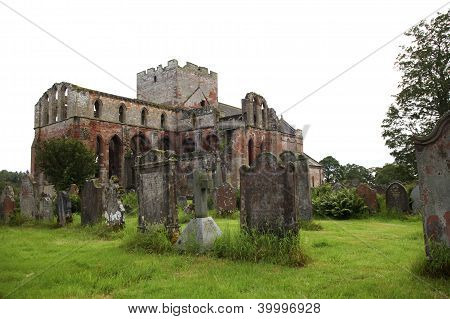 Medieval Priory And Tombstones In England