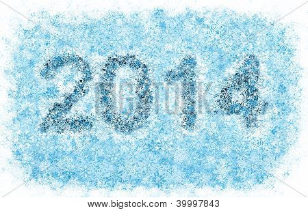 2014 year title, frosty snowflakes