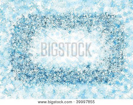Frame , frosty snowflakes