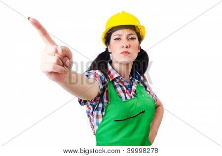Female construction worker isolated on white