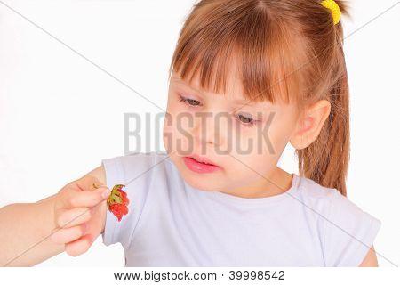 Beautiful Little Girl Eating Strawberry
