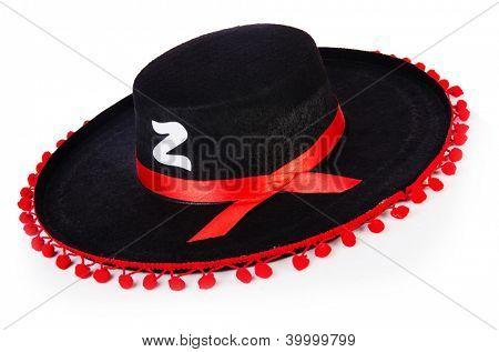 Black sombrero hat isolated on the white
