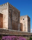 foto of cistern  - Cistern Court (Plaza de los Aljibes) East side of the castle with pink tree blossom in foreground Palace of Alhambra Granada Granada Province Andalucia Spain Western Europe. ** Note: Shallow depth of field - JPG