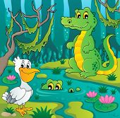 stock photo of crocodilian  - Swamp theme image 3  - JPG