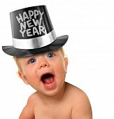 stock photo of new years baby  - Shouting Happy New Year baby boy - JPG