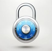 stock photo of combination lock  - Vector illustration of security concept with locked blue combination pad lock - JPG