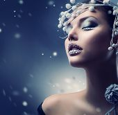 stock photo of silver-hair  - Winter Beauty Woman - JPG