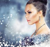 foto of snow queen  - Winter Woman in Luxury Fur Coat - JPG