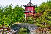 pic of dialect  - Small Bridge and Water front part of a Chinese temple in Montreal in HDR image - JPG