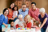 foto of multi-generation  - Multi Generation Family Celebrating Children - JPG