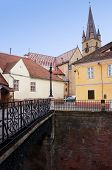 picture of foreshortening  - Foreshortening view of the bridge of lies and the cathedral of Sibiu in Romania - JPG
