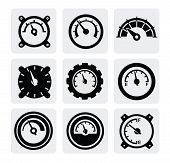 foto of barometer  - vector black meter icons set on gray - JPG