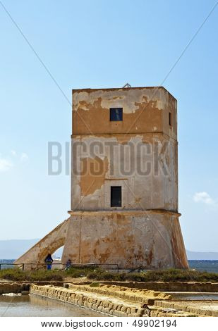 Torre Nubia (Nubia tower) in the saltern near Trapani, Sicily.