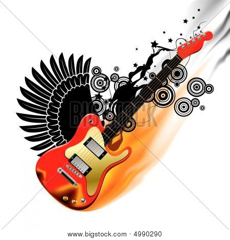 Bass Guitar In Flame