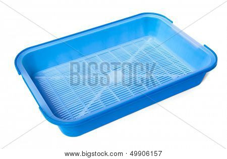 Blue plastic litter box isolated on white