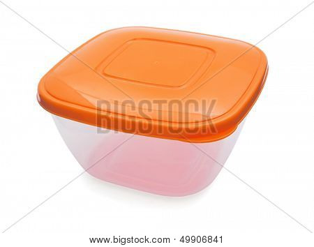 Food plastic container with orange lid isolated on white