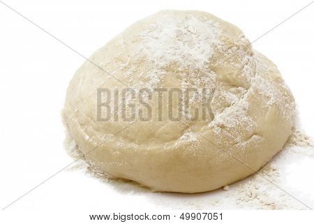 Raw fresh	yeast dough isolated on white