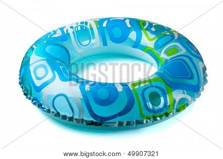 Blue inflatable round  tube isolated on white