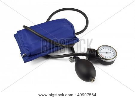Medical sphygmomanometer for blood pressure control isolated on white
