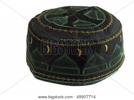 Tubeteika - traditional oriental muslim skullcap isolated on white