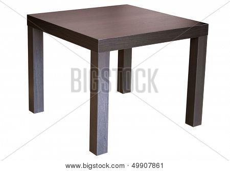 Square wenge wood table isolated on white