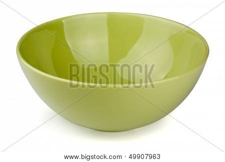 Green empty bowl isolated on white