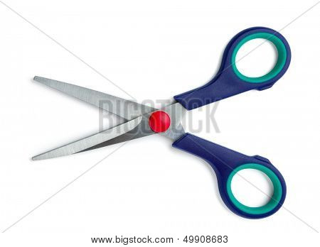 Pair of blue handled scissors isolated on white