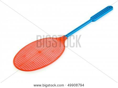 Red plastic fly swatter isolated on white