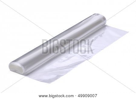 Roll of plastic oven cooking bags isolated on white