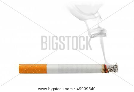 Smoking and burning cigarette isolated on white