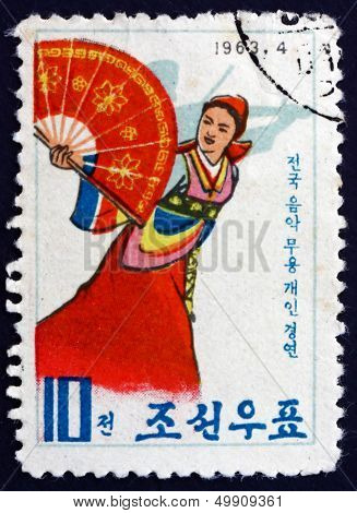 Postage Stamp North Korea 1963 Fan Dance
