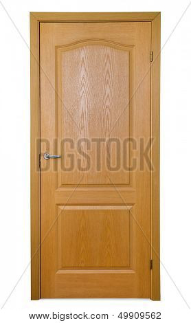 Interior apartment wooden door isolated on white