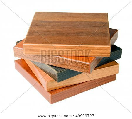 Stack of wood floor samples isolated on white