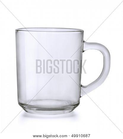 Empty glass tea mug isolated on white