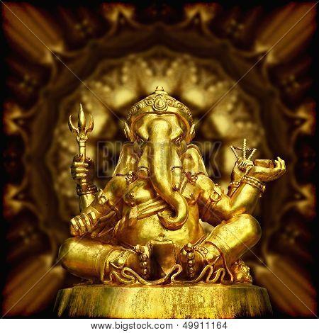 Golden Sculpture Hindu God Ganesha