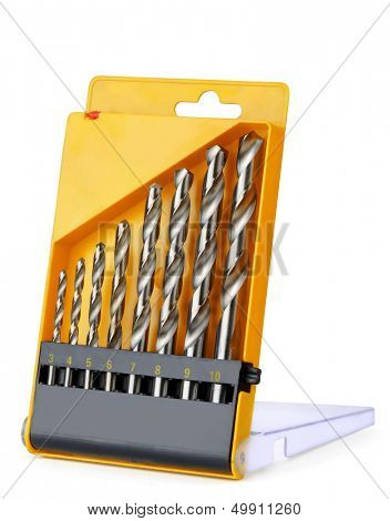 Drill bit set in box isolated on white