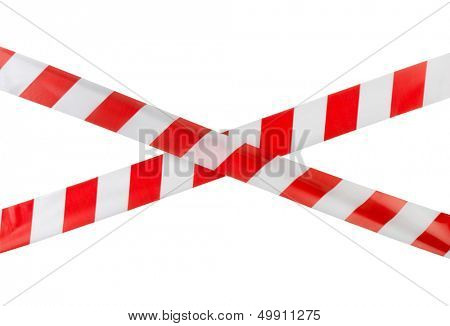 Crossed red white warning tape isolated on white