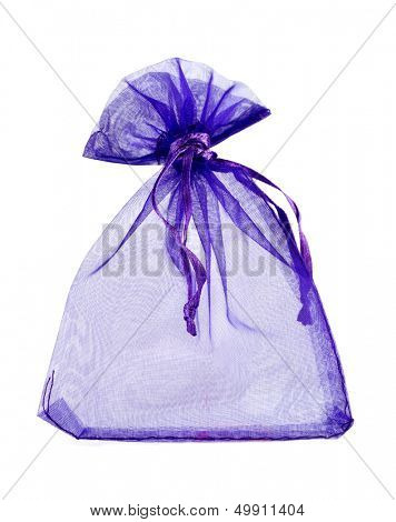 Blue empty gift pouch isolated on white