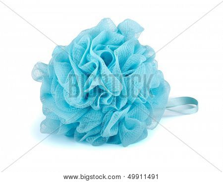Blue plastic bath puff isolated on white