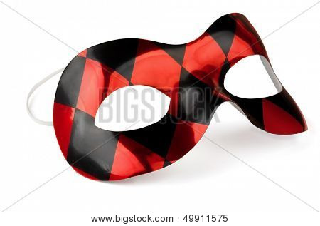 Red and black carnival mask isolated on white