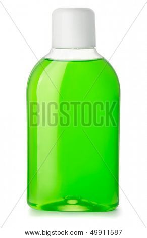 Bottle of green antibacterial mouthwash isolated on white